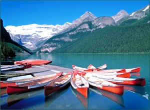 Canoes on Lake Louise, wating for you!