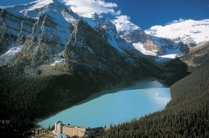 The turquoise waters of Lake Louise in the Canadian Rockies