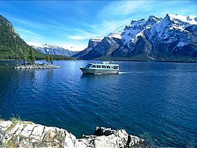 Boating on Lake Minnewanka in Banff National Park.