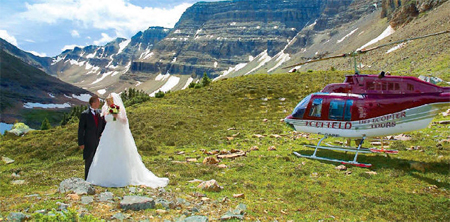 A Naturally Chic helicoper wedding via Icefield Helitours