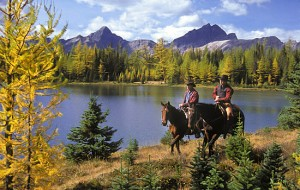 Horseback riding in Banff National Park in the Canadian Rockies.