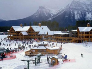 The Lodge at the Lake Louise Ski Area in the Canadian Rockies' Banff National Park.