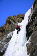 Ice climbing a waterfall in Banff National Park in the Canadian Rockies.