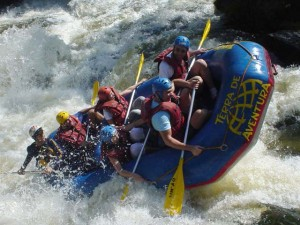 Whitewater rafting in Banff National Park in the Canadian Rockies.