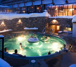 The Outdoor Hot Tub At Sunshine Mountain Lodge Village In Canadian Rockies